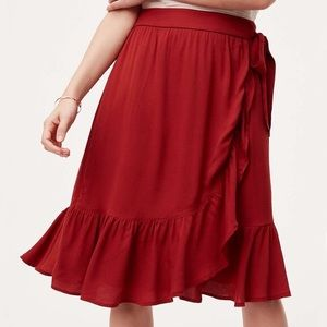 Loft red ruffle wrap skirt